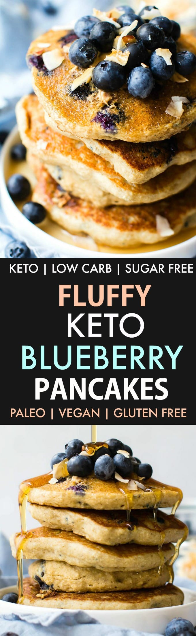 Fluffy Low Carb Keto Blueberry Pancakes (Paleo, Vegan, Flourless)- Thick and fluffy keto paleo blueberry pancake recipe- Low carb, sugar free and perfect for breakfast! #ketobreakfast #healthybreakfast #paleopancakes #blueberrypancakes #veganpancakes | Recipe on thebigmansworld.com