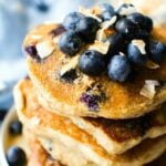 Fluffy Low Carb Keto Blueberry Pancakes (Paleo, Vegan)