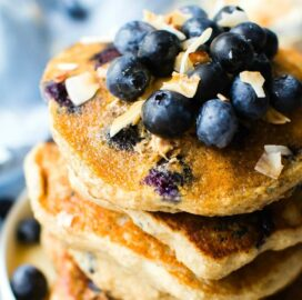 Fluffy Low Carb Keto Blueberry Pancakes