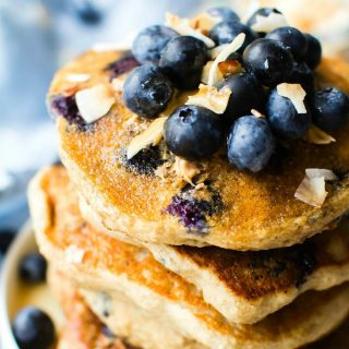 Fluffy Low Carb Keto Blueberry Pancakes (Paleo, Vegan)