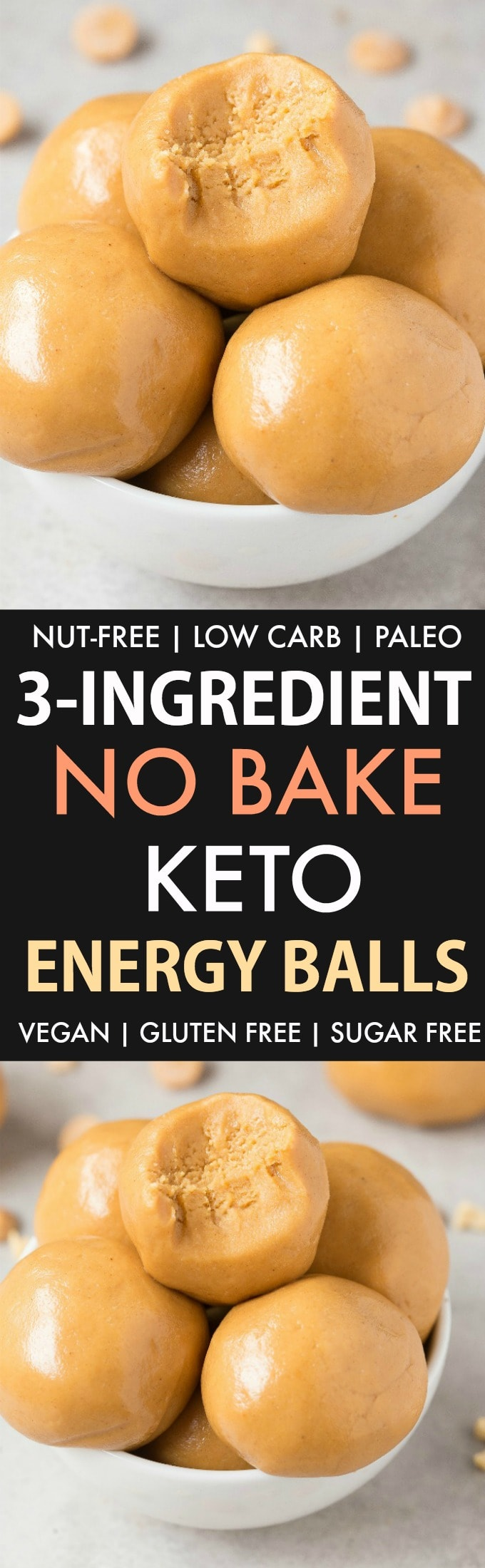 3 Ingredient No Bake Keto Energy Balls (Paleo, Vegan, Nut-Free, Low Carb)- An easy 5 minute keto bliss ball recipe made with just 3 ingredients and 100% Nut-free and sugar-free! The perfect quick and easy snack! #nutfree #ketosnack #ketosis #allergenfriendly #energyballs | Recipe on thebigmansworld.com