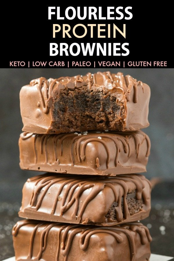 Flourless 4-Ingredient Keto Protein Brownies (Paleo, Vegan, Low Carb)- Easy and healthy fudgy gooey protein brownies made with NO sugar and NO eggs- A healthy ketogenic dessert or post workout snack! #proteinbrownies #proteinpowder #ketodessert #lowcarb #veganbaking | Recipe on thebigmansworld.com