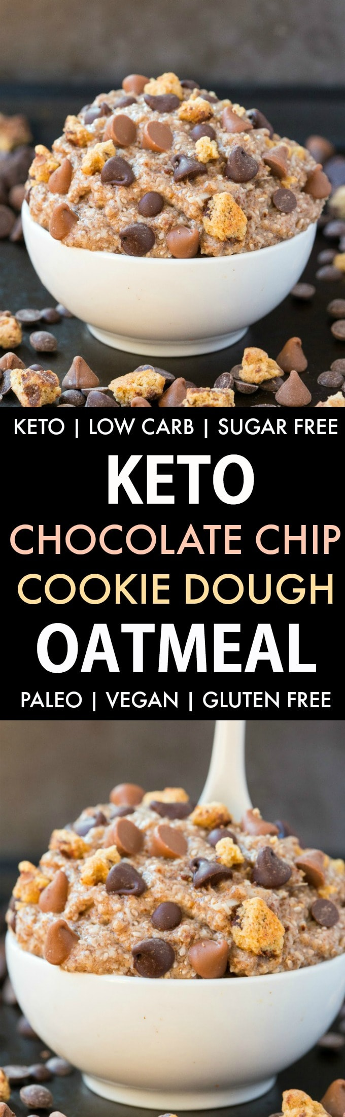 Low Carb Keto Chocolate Chip Cookie Dough Oatmeal in a collage