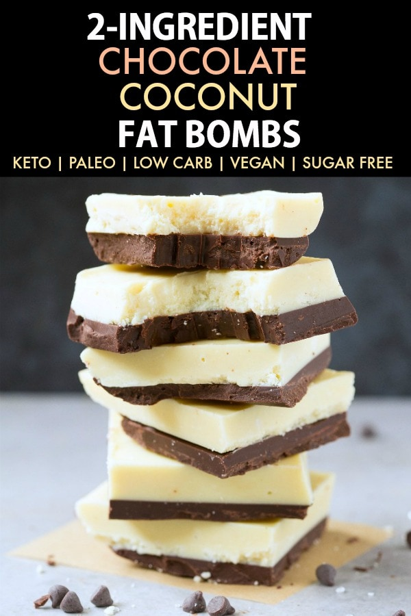 2-Ingredient Low Carb Keto Chocolate Coconut Fat Bombs (Paleo, Vegan, Sugar Free)- A fool proof recipe for keto chocolate and coconut butter to make these easy coconut fat bombs- NO sugar, NO dairy and ready in 5 minutes! #fatbombs #ketosnack #ketodessert #lowcarbdessert | Recipe on thebigmansworld.com