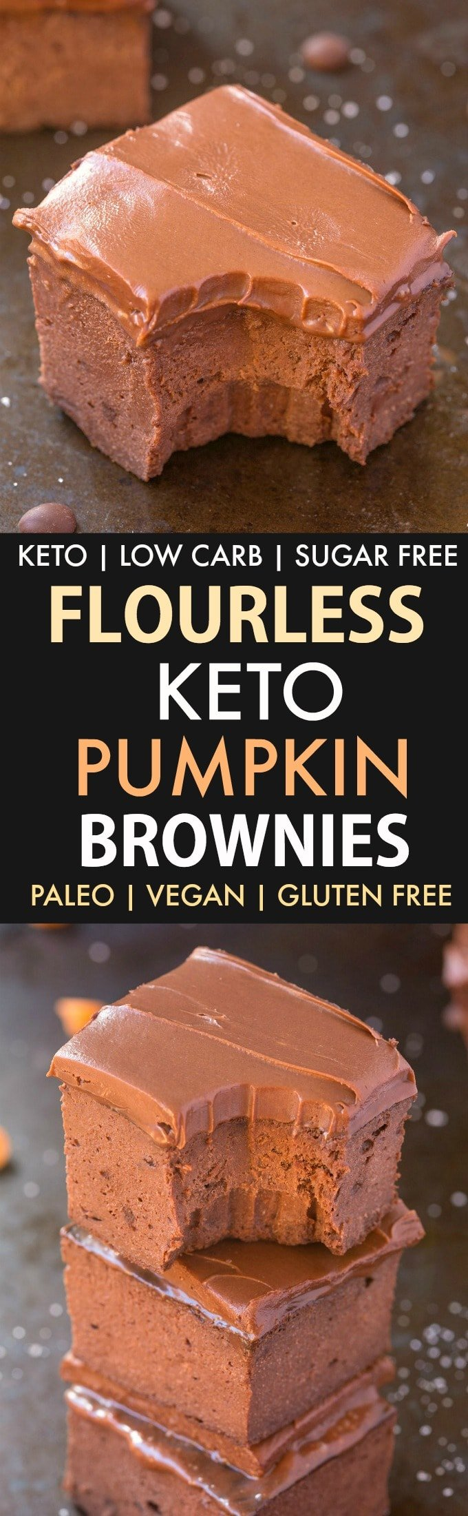 3-Ingredient Flourless Pumpkin Brownies (Low Carb, Keto, Vegan, Paleo, Sugar Free)- Make these quick and easy healthy flourless pumpkin brownies which need just 3 ingredients and take 15 minutes! Low carb, sugar-free and the perfect healthy chocolate fix! #ketodessert #pumpkinbrownies #pumpkinrecipes #sugarfree | Recipe on thebigmansworld.com