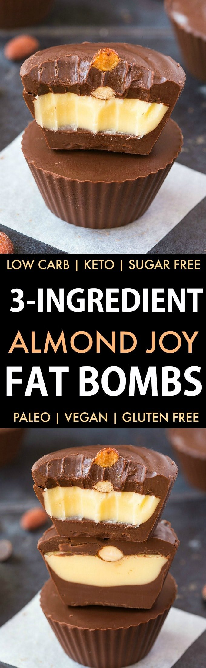 3-Ingredient Almond Joy Fat Bombs (Keto, Paleo, Low Carb, Vegan)- An easy low carb almond joy fat bomb recipe- 3 ingredients, 5 minutes and the perfect combo of coconut, almonds and chocolate but healthy! The perfect snack or dessert! | #fatbombs #ketogenicfood #ketosis #ketovegan | Recipe on thebigmansworld.com