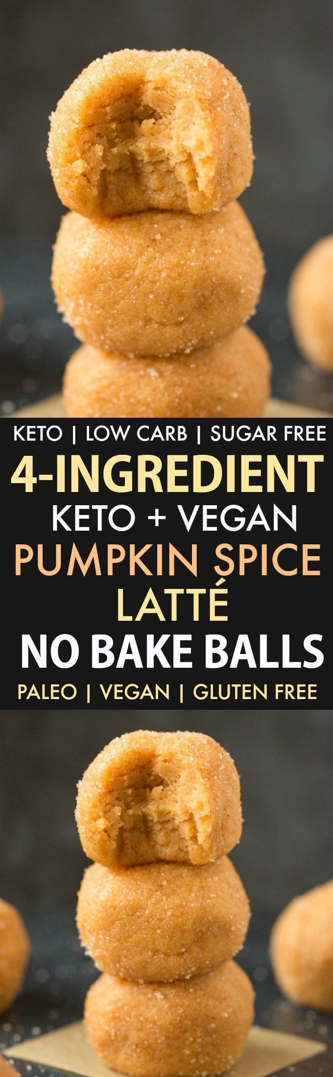 No Bake Pumpkin Spice Latte Energy Bites (Paleo, Vegan, Keto, Low Carb, Sugar Free)- An easy 4-ingredient recipe for pumpkin spice latte energy bites which are soft, chewy and protein-packed! A delicious pumpkin snack which tastes like a Pumpkin Spice Latte! #pumpkinspicelatte #ketosnack #energyballs #fatbombs | Recipe on thebigmansworld.com