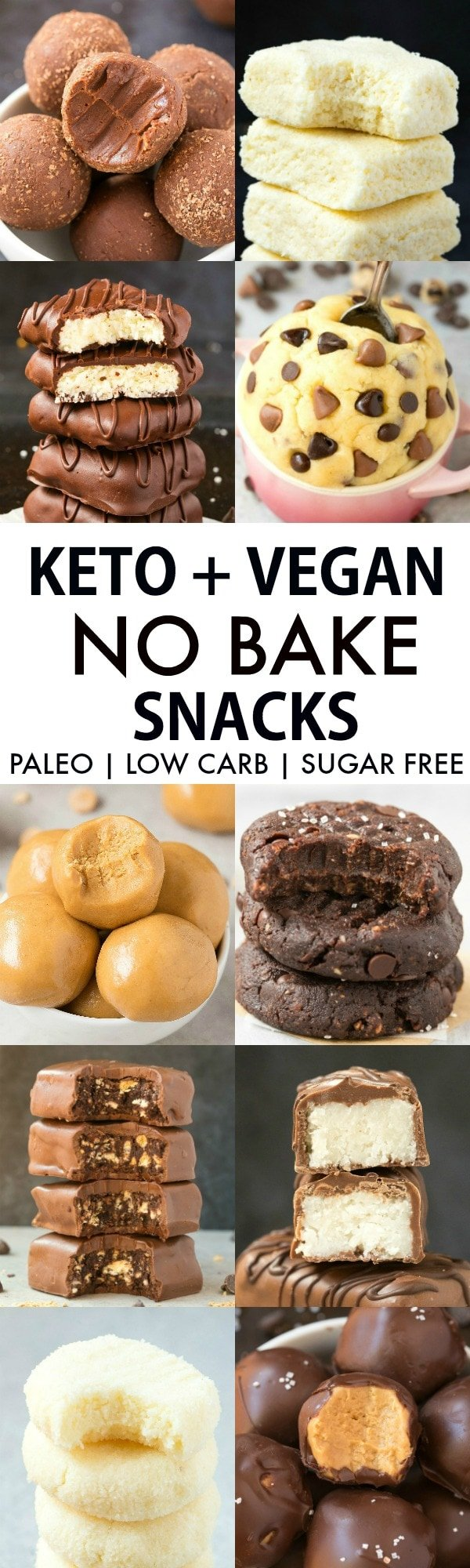 Easy Keto and Vegan No Bake Snacks in a collage