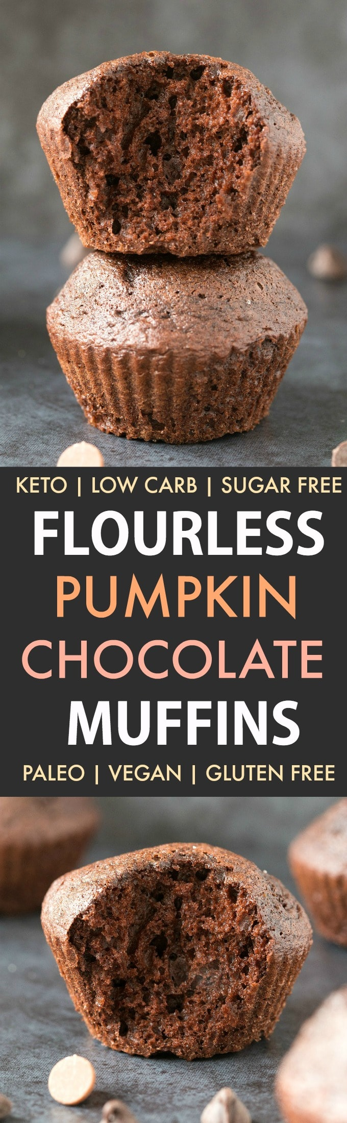Healthy Flourless Pumpkin Chocolate Muffins (Paleo, Vegan, Keto, Sugar Free)- An easy one-bowl recipe for flourless chocolate muffins with pumpkin- Made with no flour, no oil and no butter, moist and gooey on the inside and tender on the outside! Freezer-friendly too! #flourlessmuffins #lowcarb #ketorecipe #vegan | Recipe on thebigmansworld.com