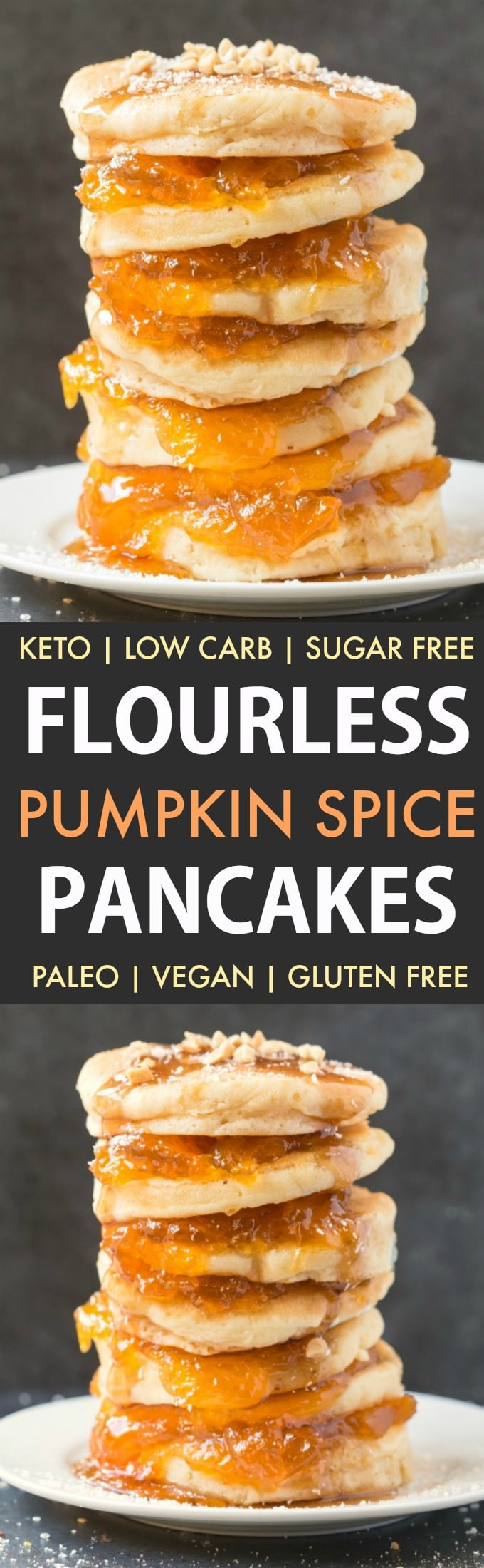 Healthy Flourless Pumpkin Spice Pancakes (Paleo, Vegan, Keto, Low Carb)- Thick, fluffy pancakes made with almond flour and coconut flour- Tested with an eggless and flourless option too- The perfect protein-packed, filling and healthy breakfast! #pumpkinpancakes #ketopancakes #paleopancakes #veganpancakes #keto | Recipe on thebigmansworld.com