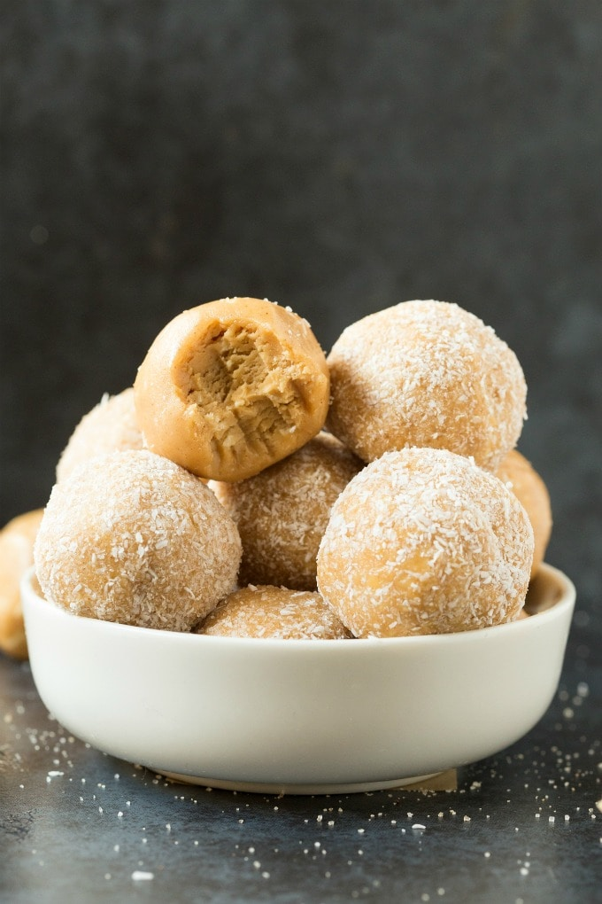 Healthy No Bake Salted Caramel Protein Bliss Balls (Paleo, Vegan, Keto, Sugar Free)- an easy nut-free and kid-friendly recipe for 4-ingredient healthy salted caramel energy balls- No sugar, peanut butter-free- A salted caramel fat bomb! #fatbombs #blissballs #vegan #paleo #keto | Recipe on thebigmansworld.com