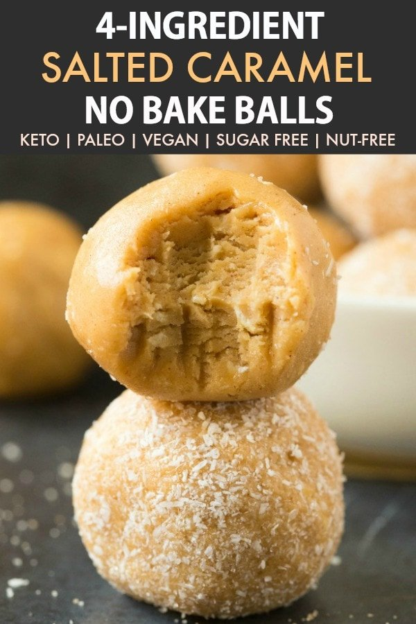 Healthy No Bake Salted Caramel Protein Bliss Balls (Paleo, Vegan, Keto, Sugar Free)- an easy nut-free and kid-friendly recipe for healthy salted caramel energy balls- No sugar, peanut butter-free- A salted caramel fat bomb! #fatbombs #blissballs #vegan #paleo #keto | Recipe on thebigmansworld.com