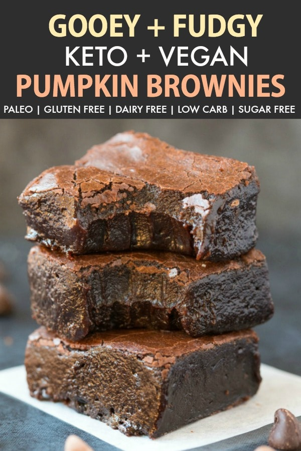 Fudgy Keto Vegan Pumpkin Brownies (Paleo, Gluten Free, Low Carb)- An easy one bowl recipe for fudgy chocolate pumpkin brownies- Made with coconut flour and NO almond flour, it is egg free, sugar free and low carb! #keto #ketodessert #paleodessert #vegandessert #brownies | Recipe on thebigmansworld.com