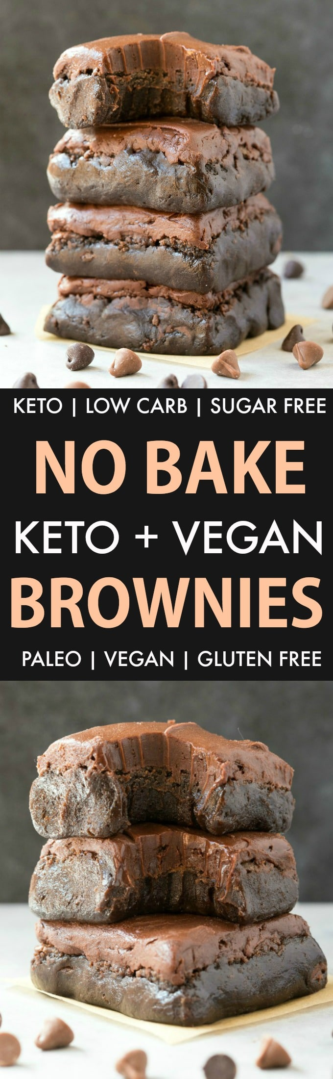 No Bake Paleo Vegan Brownies (Keto, Low Carb, Sugar Free)- An easy 5-ingredient recipe for fudgy, gooey and secretly healthy raw brownies! Protein-packed, completely sugar free and ready in minutes! The ultimate healthy no bake dessert! #nobakedessert #keto #vegan #ketogenicrecipe #paleo | Recipe on thebigmansworld.com