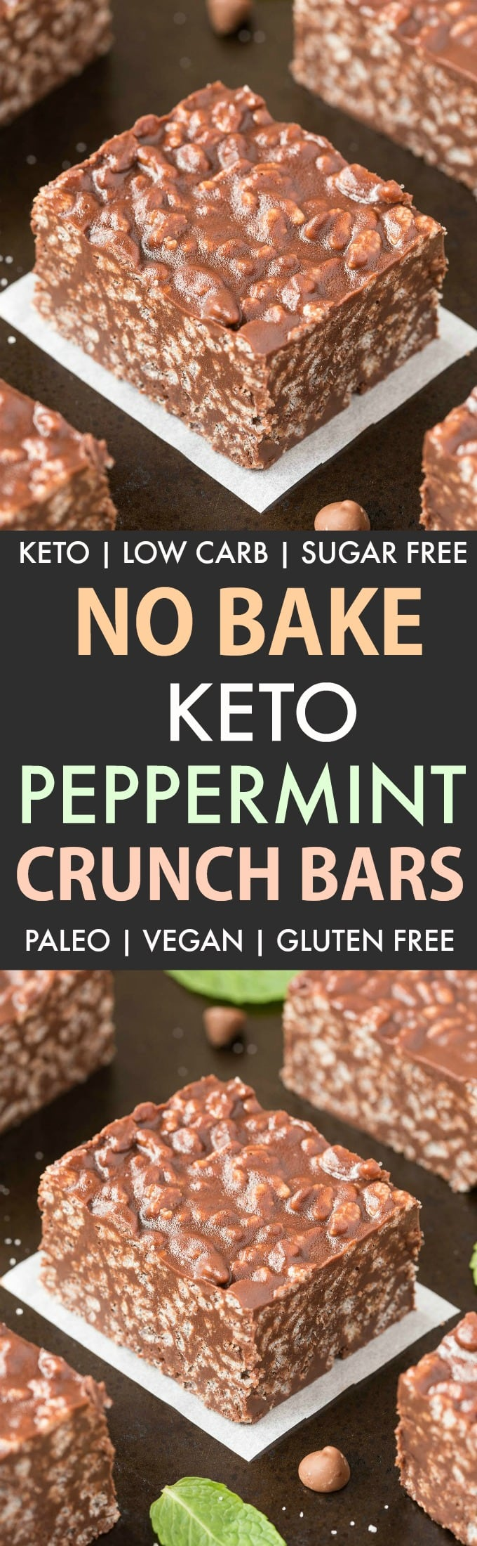 Homemade Keto Peppermint Chocolate Crunch Bars (Paleo, Vegan, Gluten Free, Sugar Free, Low Carb)- An easy 6-ingredient nut-free recipe for no bake chocolate peppermint crunch bars like the candy bar! Ready in minutes! #peppermintchocolate #keto #paleo #vegan #dairyfree #nutfree | Recipe on thebigmansworld.com