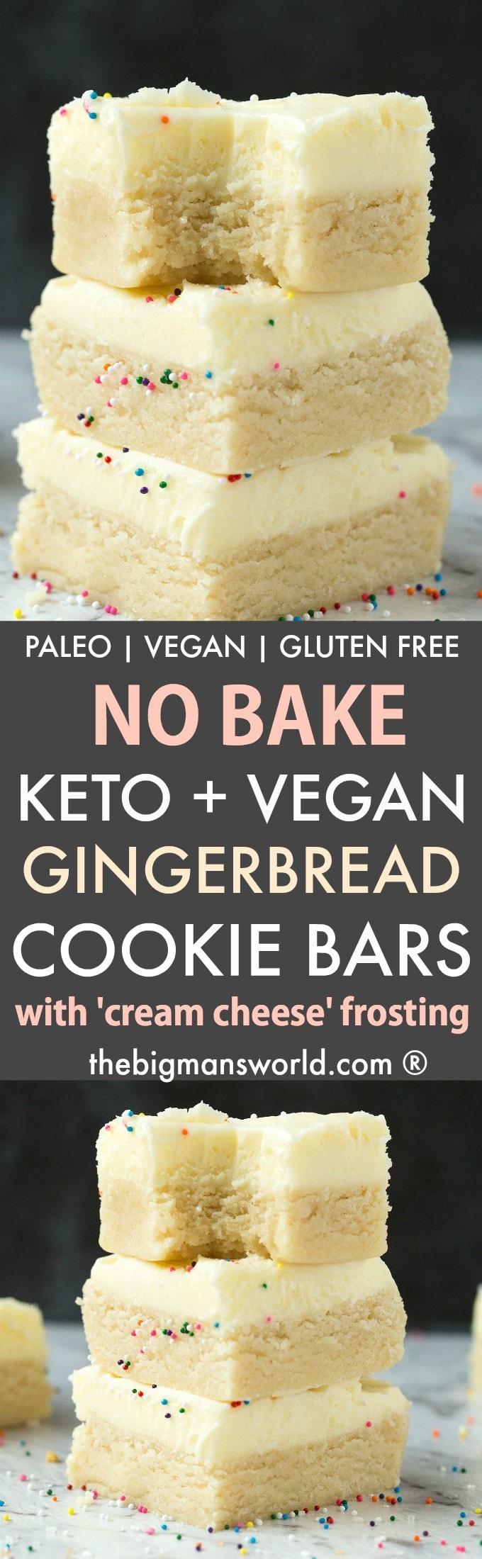Healthy No Bake Gingerbread Cookie Bars topped with a creamy dairy free frosting.