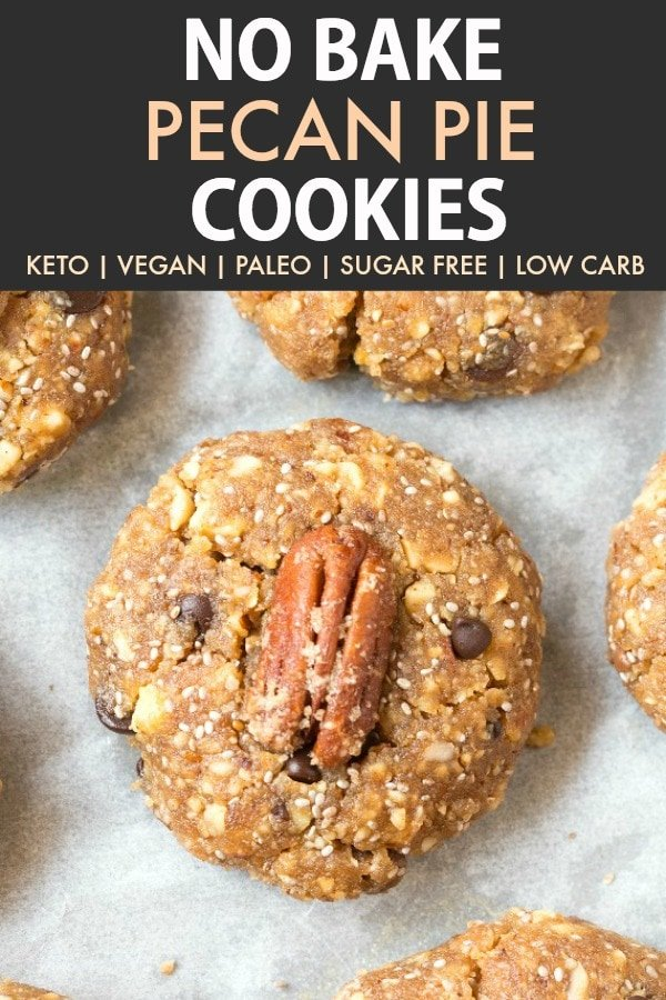 Healthy No Bake Pecan Pie Cookies loaded with candied sugar free pecans and cinnamon, these thick, chewy and dense cookies are keto, vegan, paleo and low carb! Perfect for holiday baking or desserts! #thanksgiving #christmascookies #ketodessert #nobake #ketorecipe #veganrecipe #paleo #cookies #pecanpie