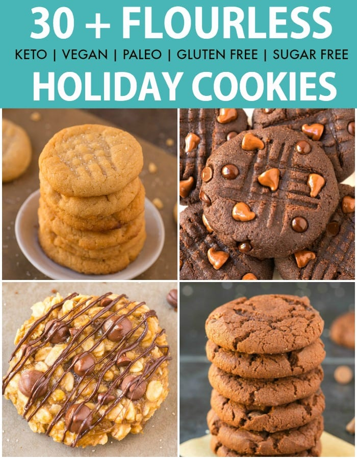 30+ of THE BEST Keto and Vegan FLOURLESS Holiday Cookies perfect for Christmas, gifts and the festive season! Soft, chewy one-bowl cookies with crispy edges made with NO eggs and NO flour!
