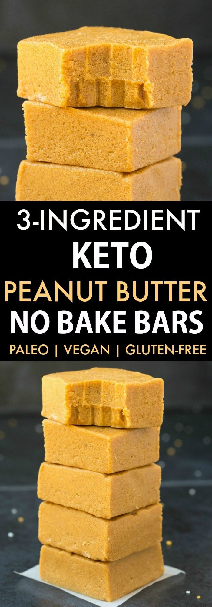 A collage of 3-ingredient keto peanut butter bars stacked on top of one another.