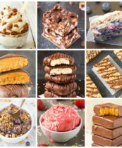 A square collage of 9 keto and vegan desserts including ice cream, cakes, brownies, no bake bars and cookies. 41+ Easy Keto Friendly Dessert Recipes that are Vegan!