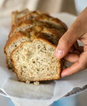 Slices of hearty banana bread- Tender on the outside and moist on the inside.