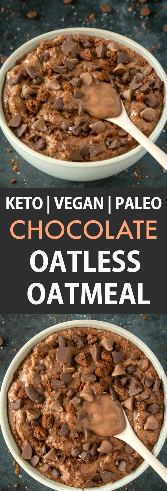 A collage of two bowls of keto and low carb chocolate oatless overnight oats