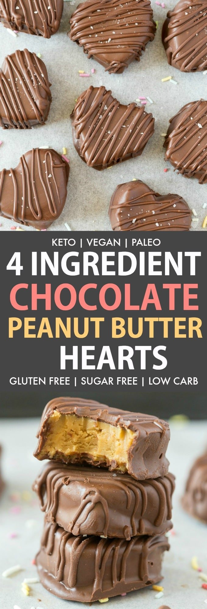 A collage of 4 ingredient chocolate peanut butter hearts, keto and vegan.