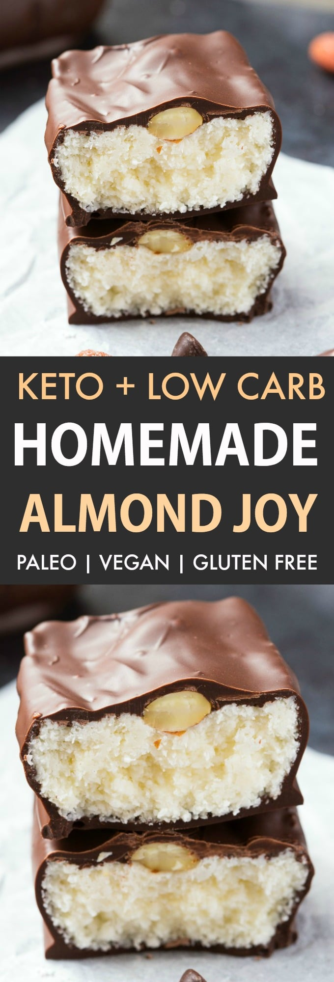 Homemade low carb and keto almond joy bars