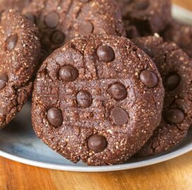 Keto no bake chocolate cookies with chocolate chips