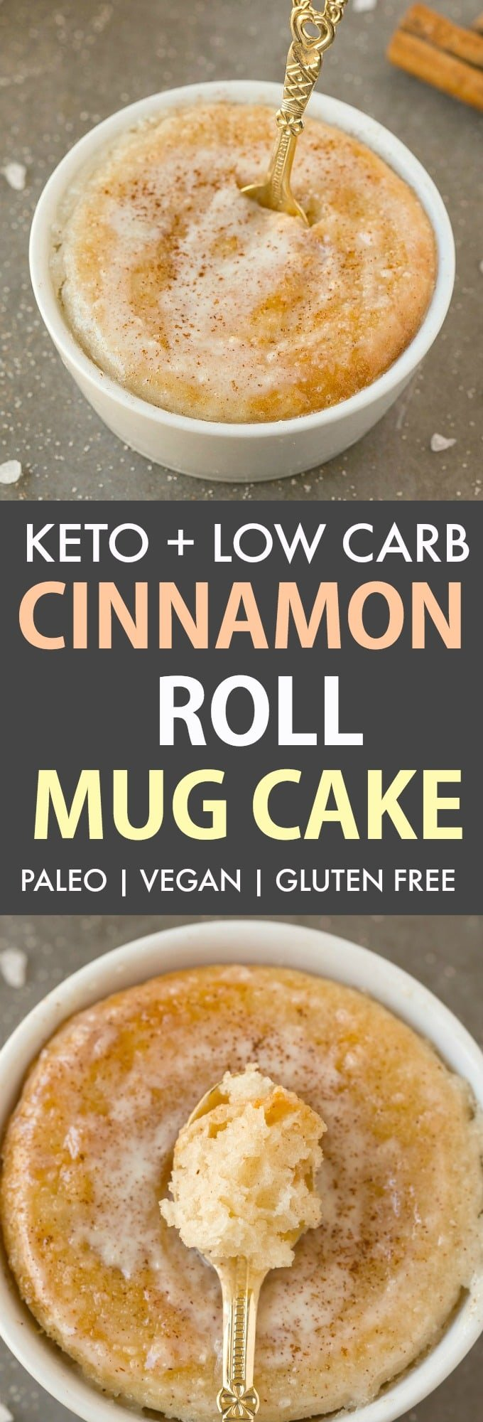 A keto cinnamon roll mug cake topped with a cinnamon glaze