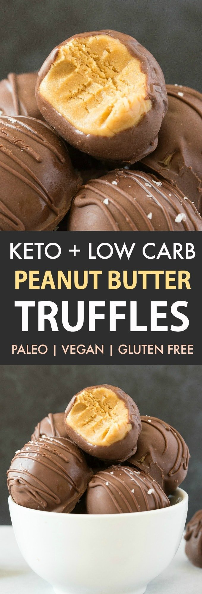 Keto Chocolate Peanut Butter Truffles in a white bowl.