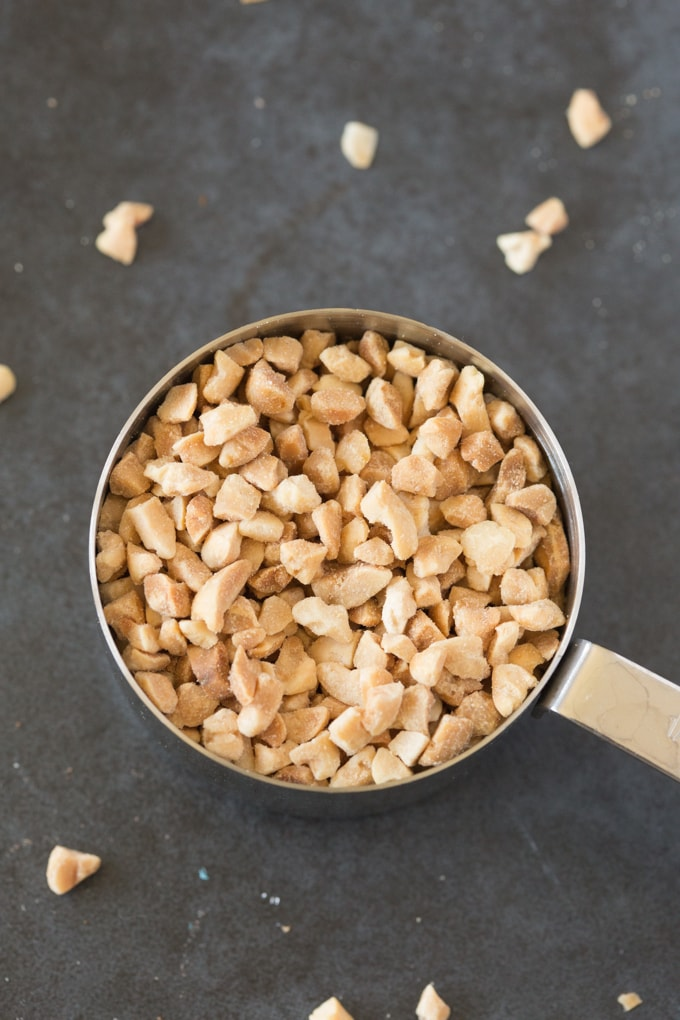 A cup of chopped peanuts