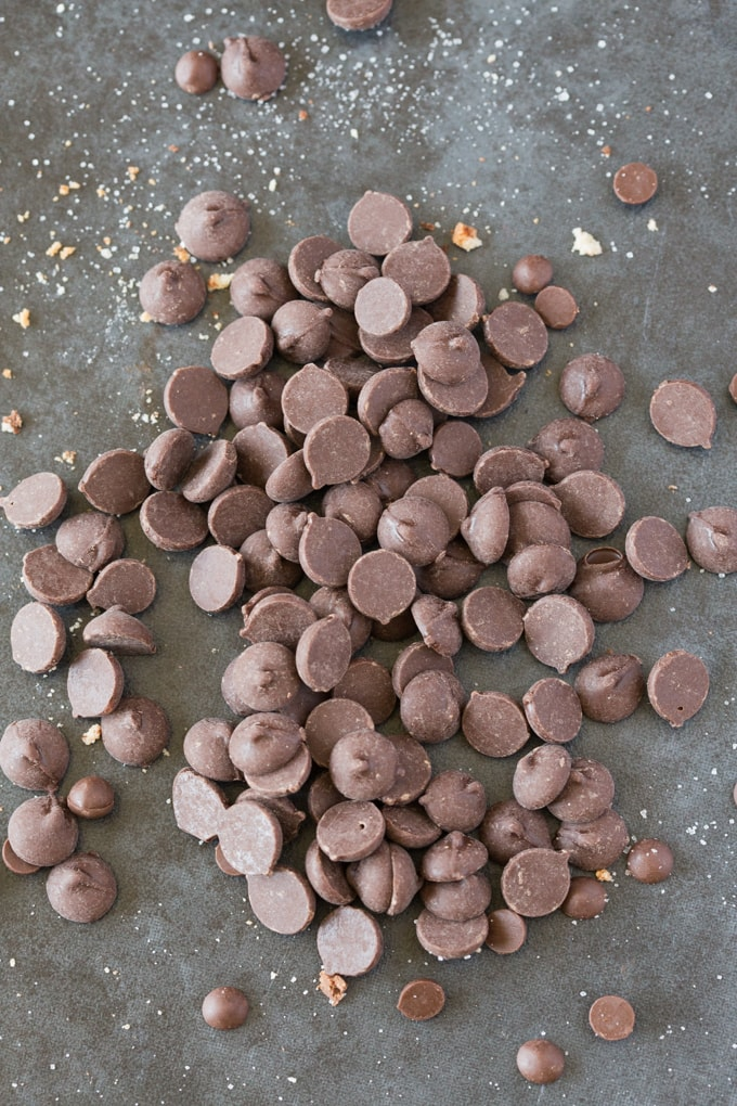 A bunch of chocolate chips scattered on a blue surface
