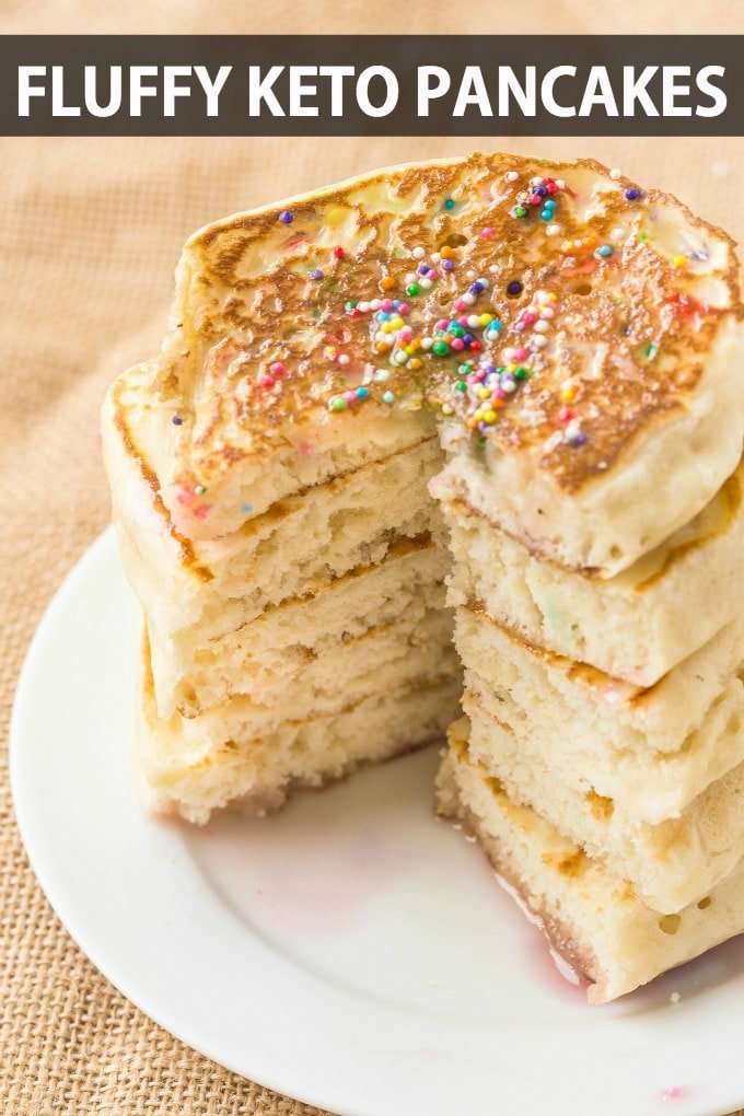 Fluffy keto pancakes made with almond flour, topped with sprinkles
