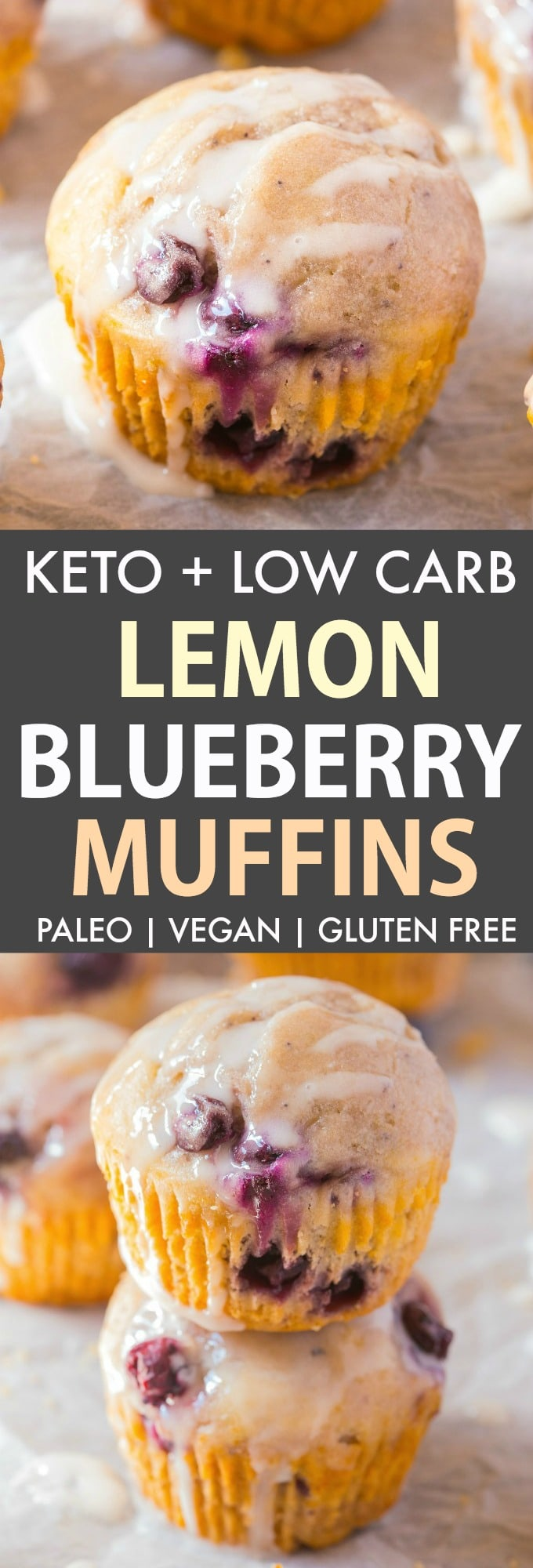 Keto Lemon and Blueberry Muffins topped with a coconut butter glaze.