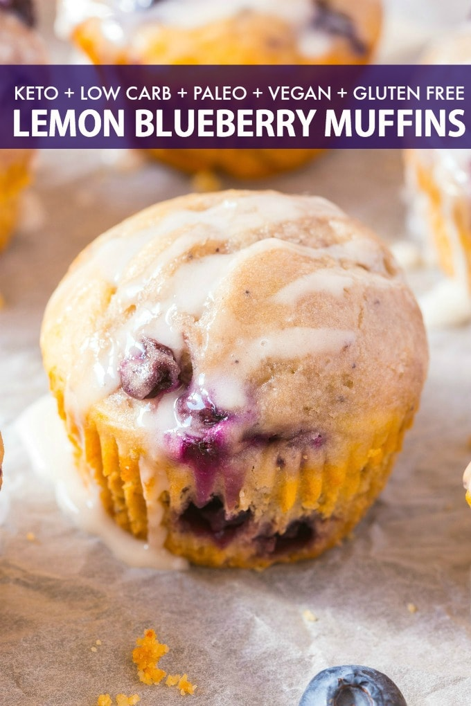 Keto Blueberry Lemon Muffins with a coconut butter glaze.