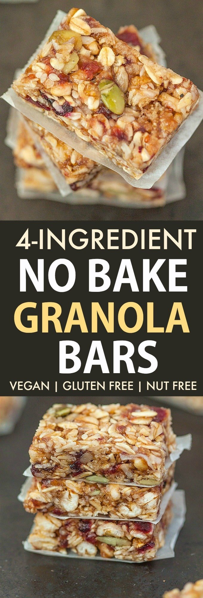 Chewy 4 ingredient no bake vegan granola bars