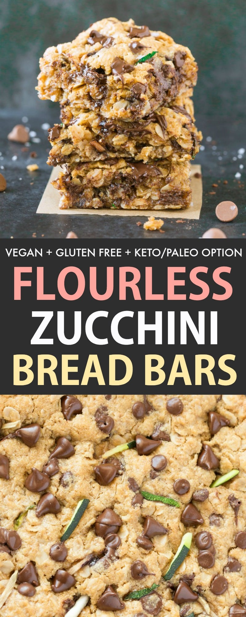 Healthy Zucchini Oatmeal Breakfast Bars with chocolate chips and perfect for a healthy dessert recipe with zucchini! Vegan, Gluten Free, Paleo and Keto!