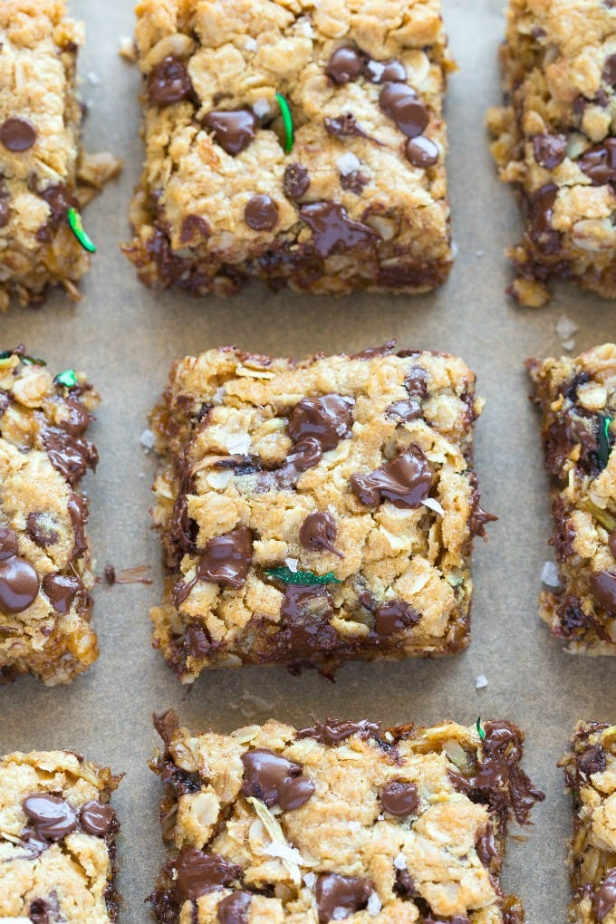 Zucchini Chocolate Chip Cookie Bars made with oatmeal and banana, with a grain free option!
