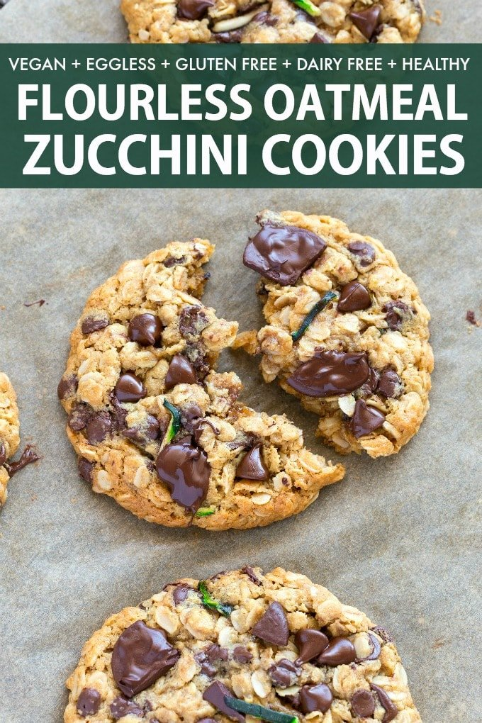 Healthy Zucchini Oatmeal Cookies loaded with chocolate chips and made with applesauce and rolled oats!
