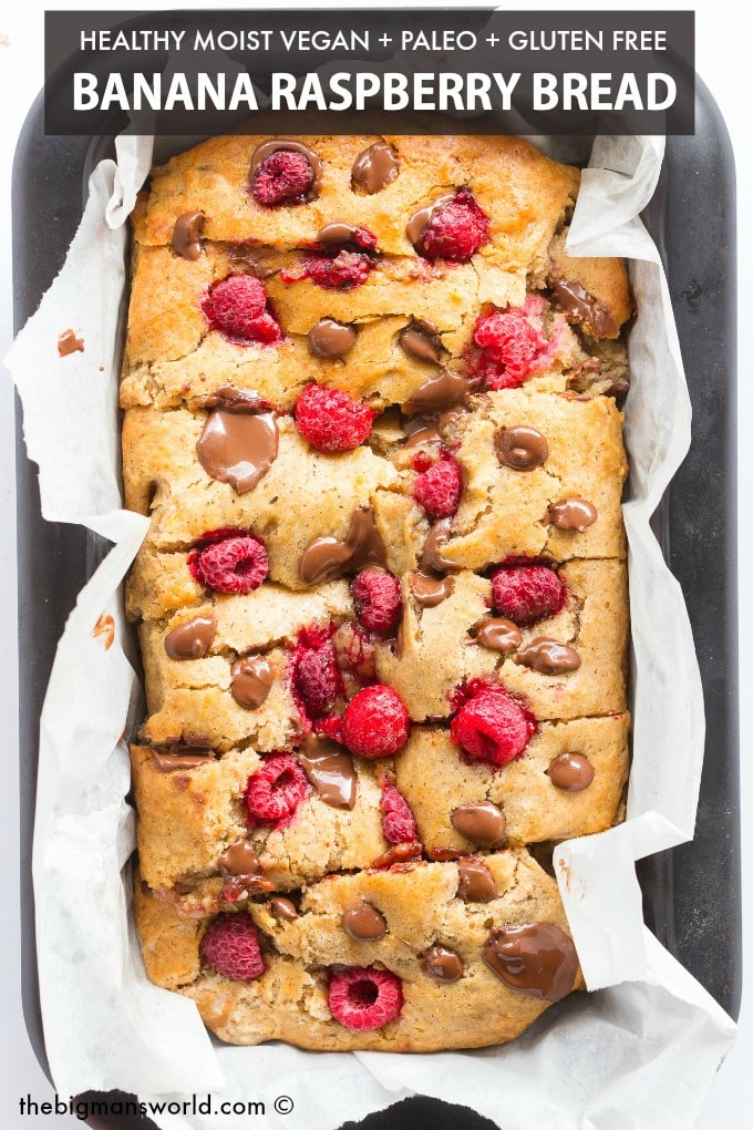Healthy Banana and Raspberry Bread recipe with dark chocolate chips