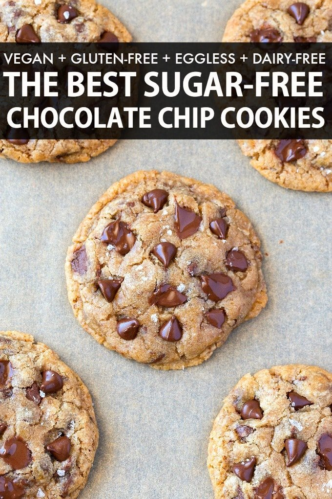 Best vegan gluten free sugar free chocolate chip cookies- Thick, soft and chewy!