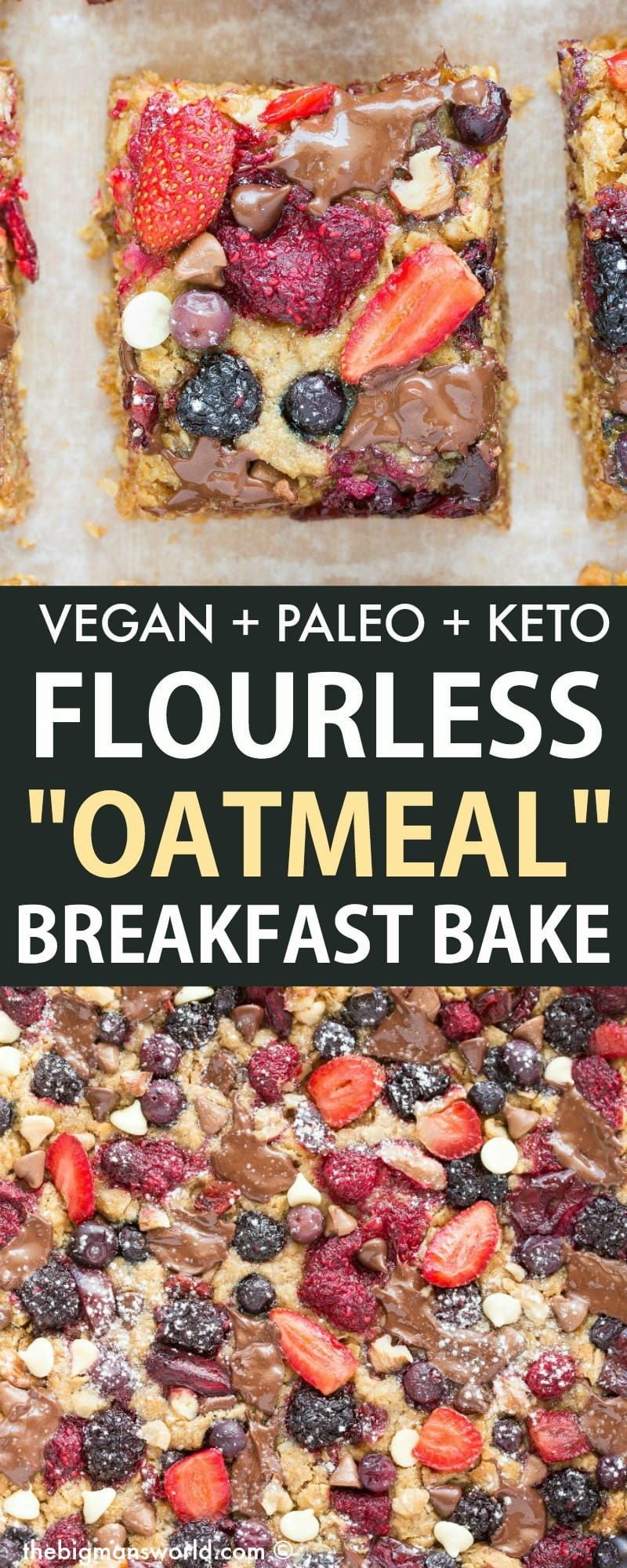 Baked Oatmeal Breakfast Casserole is a healthy vegan and gluten free breakfast, with a keto and low carb option!