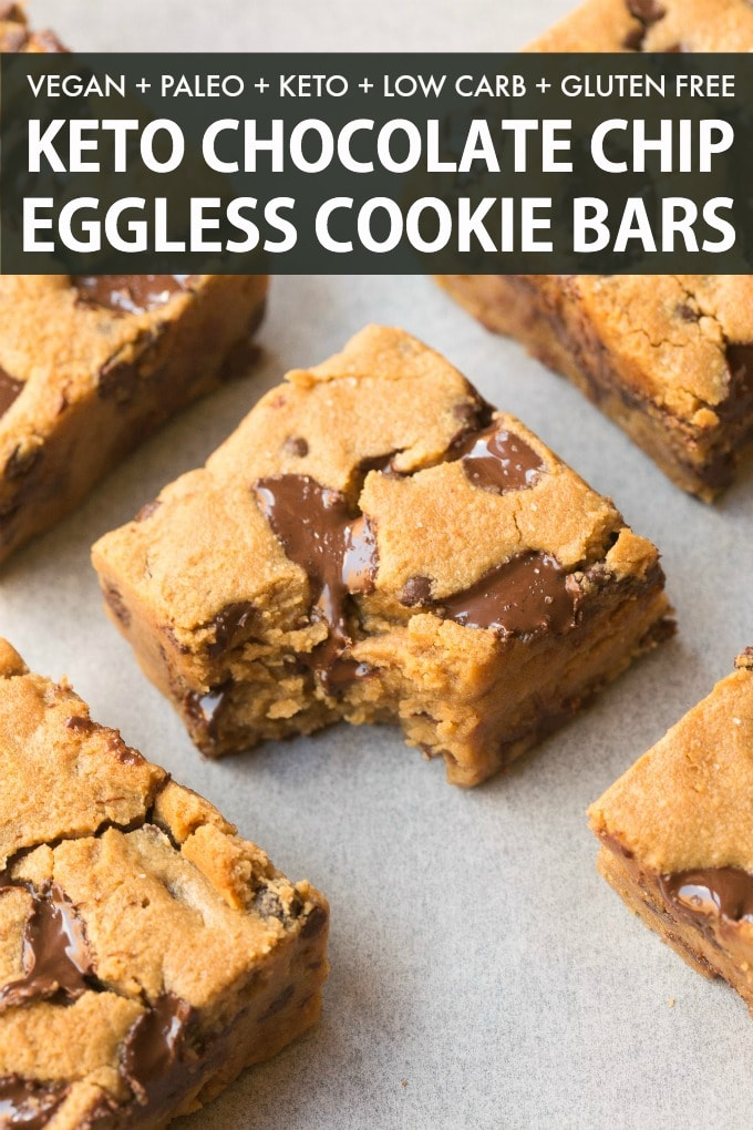 Healthy Chocolate Chip Cookie Bars are soft, chewy and gooey bars ready in 20 minutes! An easy keto dessert recipe!