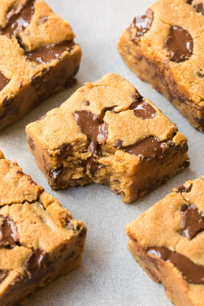 Easy soft and chewy chocolate chip cookie bars made without eggs and without sugar! Ketogenic, paleo and vegan!
