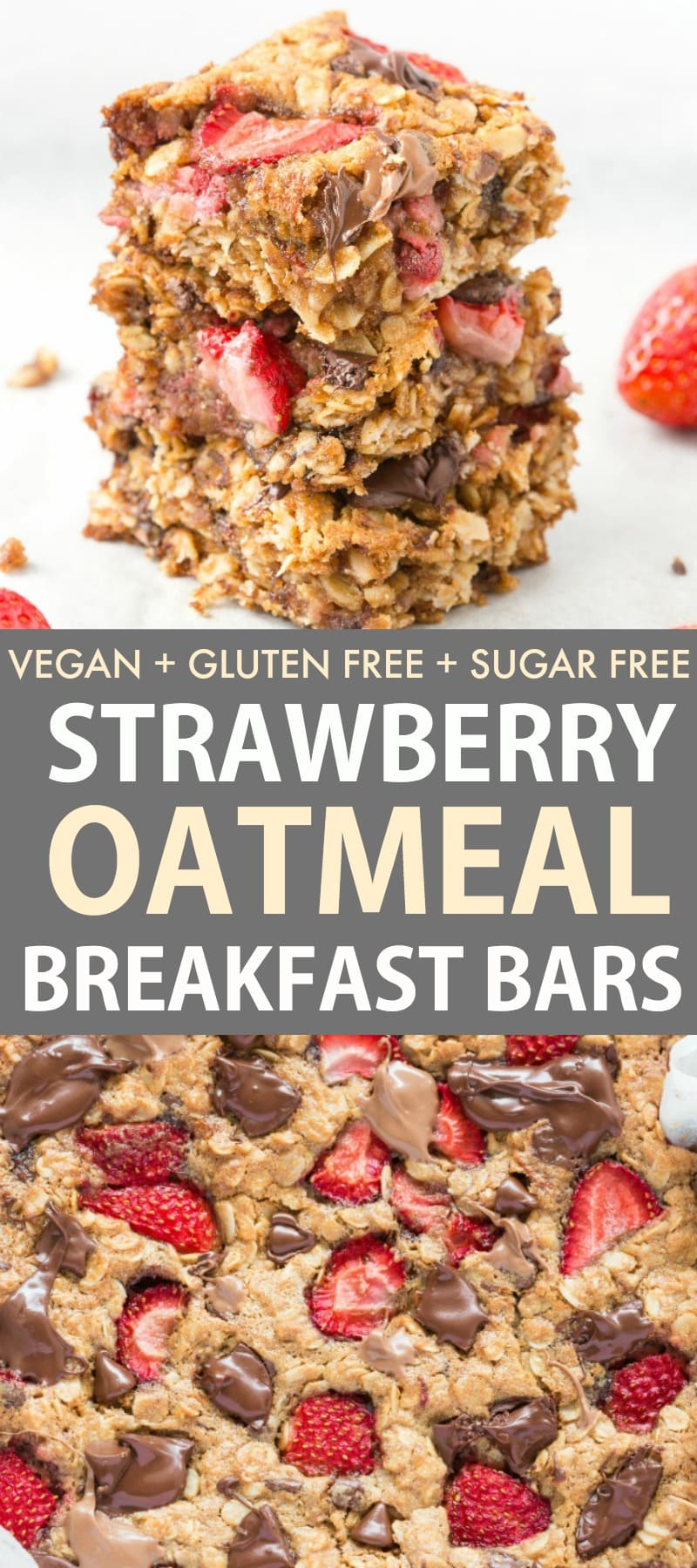 Fresh Healthy Strawberry Oatmeal Bars perfect for an eggless breakfast made with no flour and no butter! A low calorie recipe!