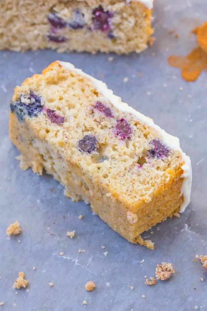A tender, moist and fluffy lemon blueberry cake made without eggs and without sugar.
