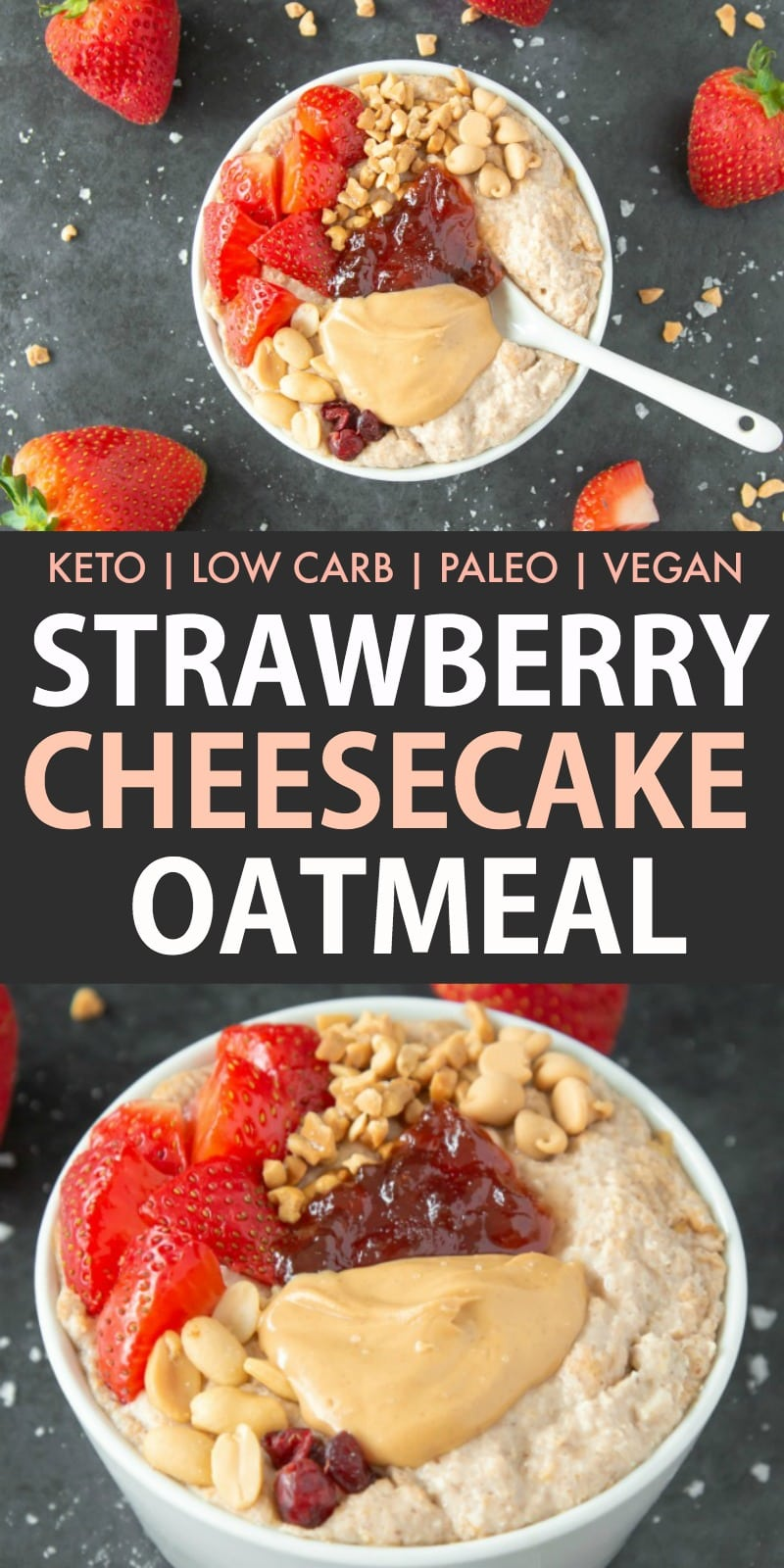 How to make strawberry cheesecake overnight oats (porridge) that is keto, low carb and dairy free.
