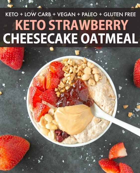 Healthy Strawberry Cheesecake Overnight Oats made WITHOUT oats and grains!