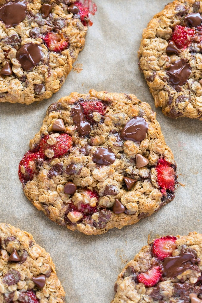 Soft and chewy oatmeal cookies with fresh strawberries and chocolate chips
